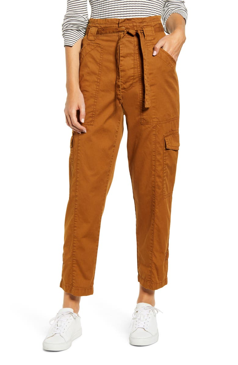 ALEX MILL Expedition Washed Twill Ankle Pants, Main, color, RUSSET BROWN