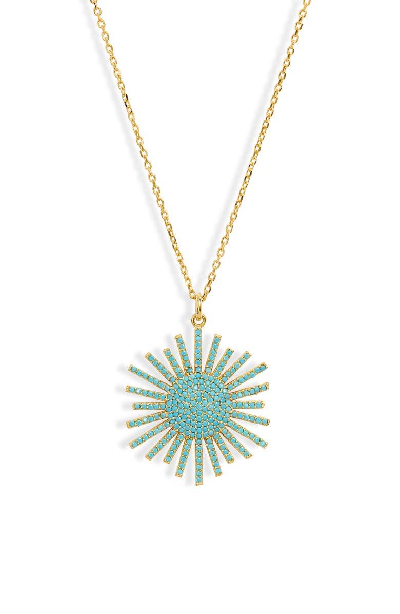 KAREN LONDON Starburst Pendant Necklace, Main, color, TURQUOISE
