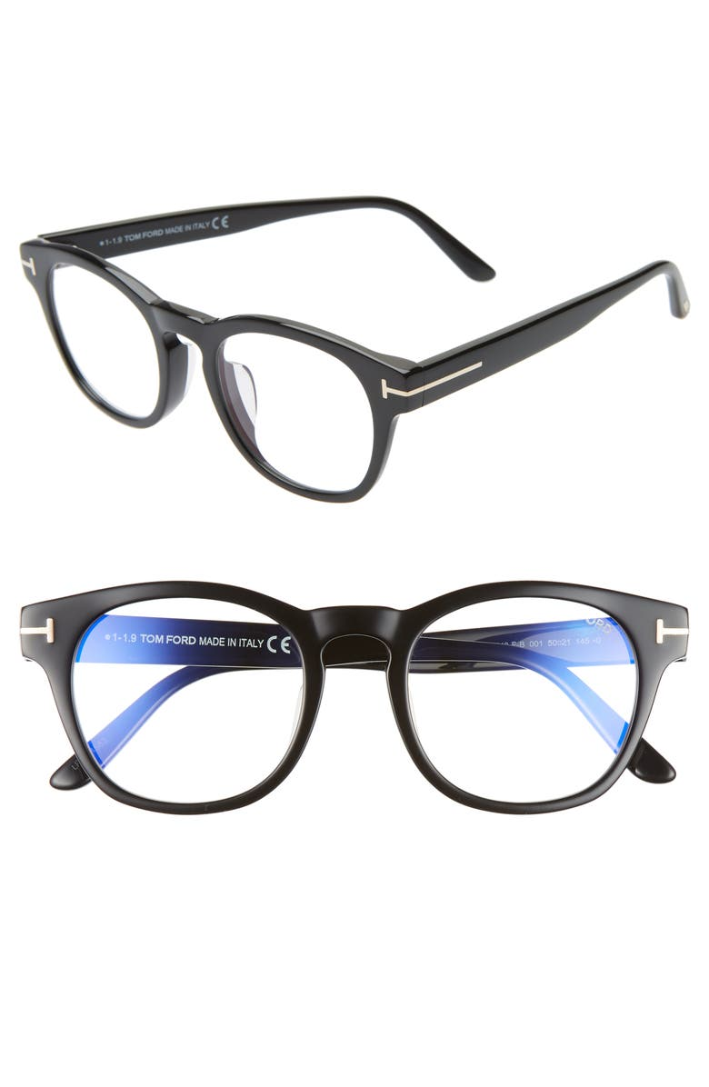 TOM FORD 50mm Blue Light Blocking Glasses, Main, color, SHINY BLACK/ ROSE GOLD