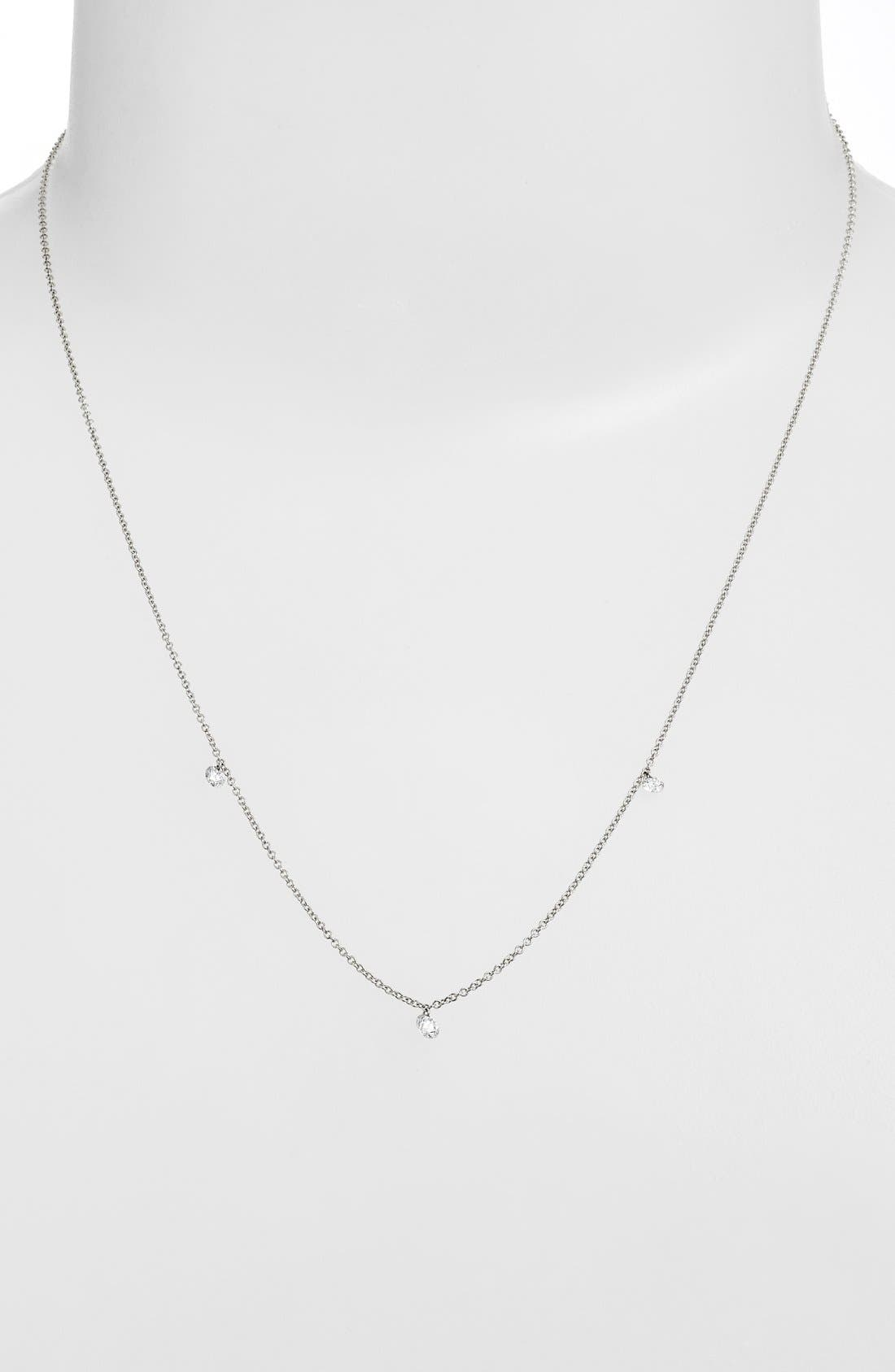 ,                             'Floating Diamond' 3-Diamond Necklace,                             Alternate thumbnail 2, color,                             WHITE GOLD