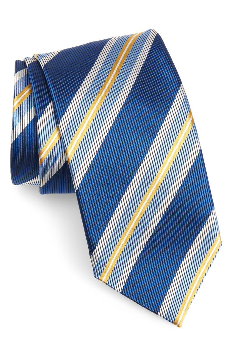 DAVID DONAHUE Multicolor Stripe Silk Tie, Main, color, BLUE