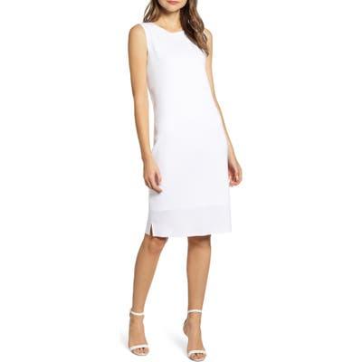 Ming Wang Sleeveless Shift Dress, White