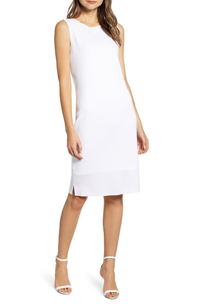MING WANG Sleeveless Shift Dress, Main, color, WHITE