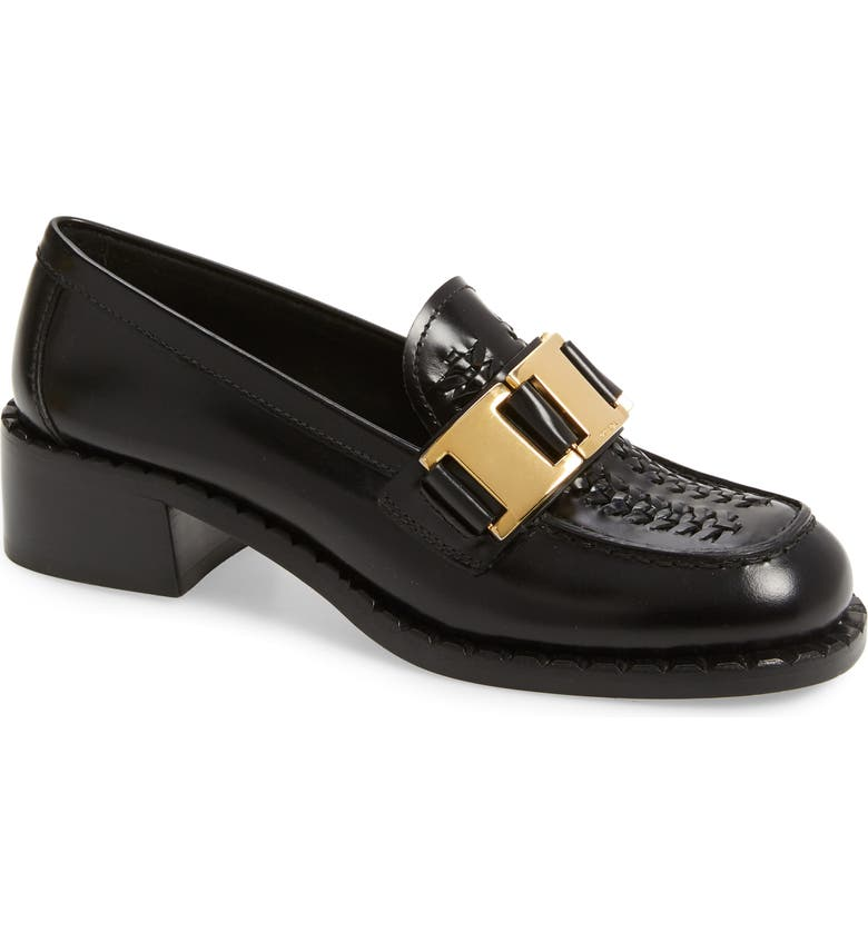 PRADA Chain Loafer, Main, color, BLACK