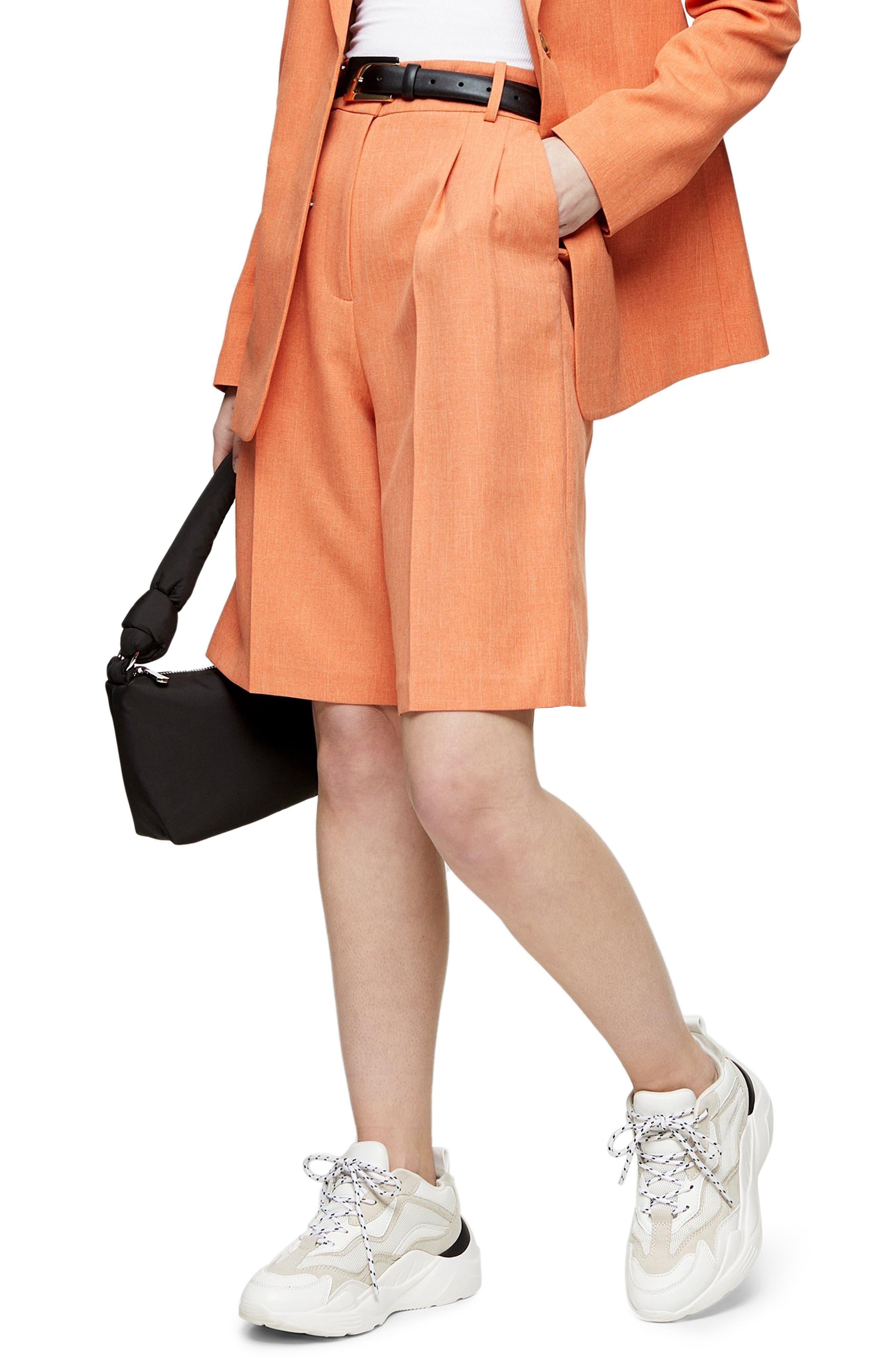 Women's Topshop Pleated Shorts,  12 US (fits like 14) - Orange