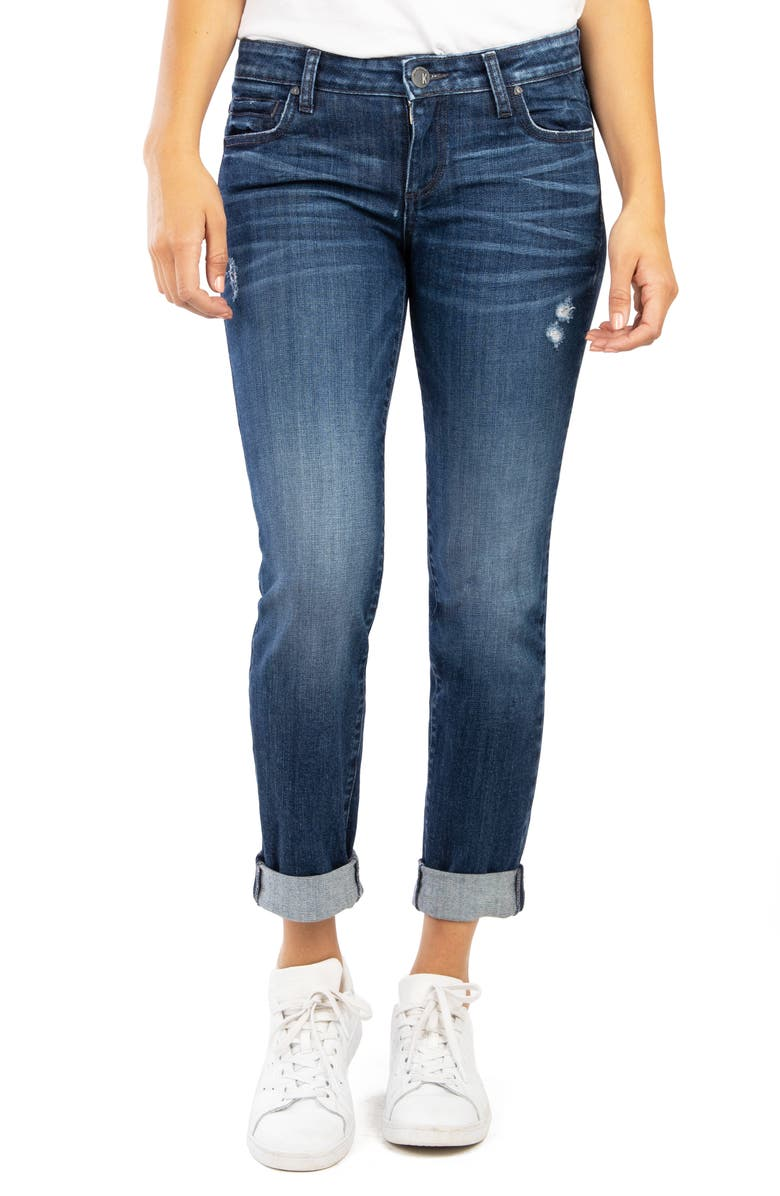 KUT FROM THE KLOTH Catherine Distressed Boyfriend Jeans, Main, color, ACKNOWLEDGEMENT