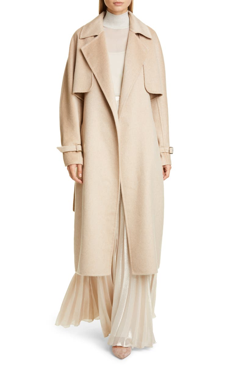 MAX MARA Agar 2-in-1 Double Face Camel Hair & Cashmere Trench Coat, Main, color, CAMEL