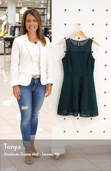 Stripe Illusion Scuba Crepe Fit & Flare Dress, sales video thumbnail
