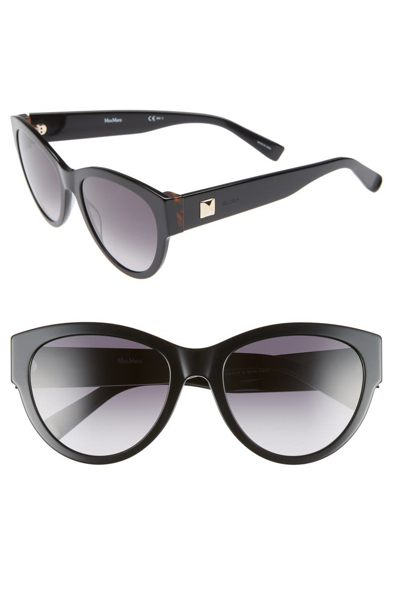 MAX MARA Flat III 55mm Cat Eye Sunglasses, Main, color, BLACK