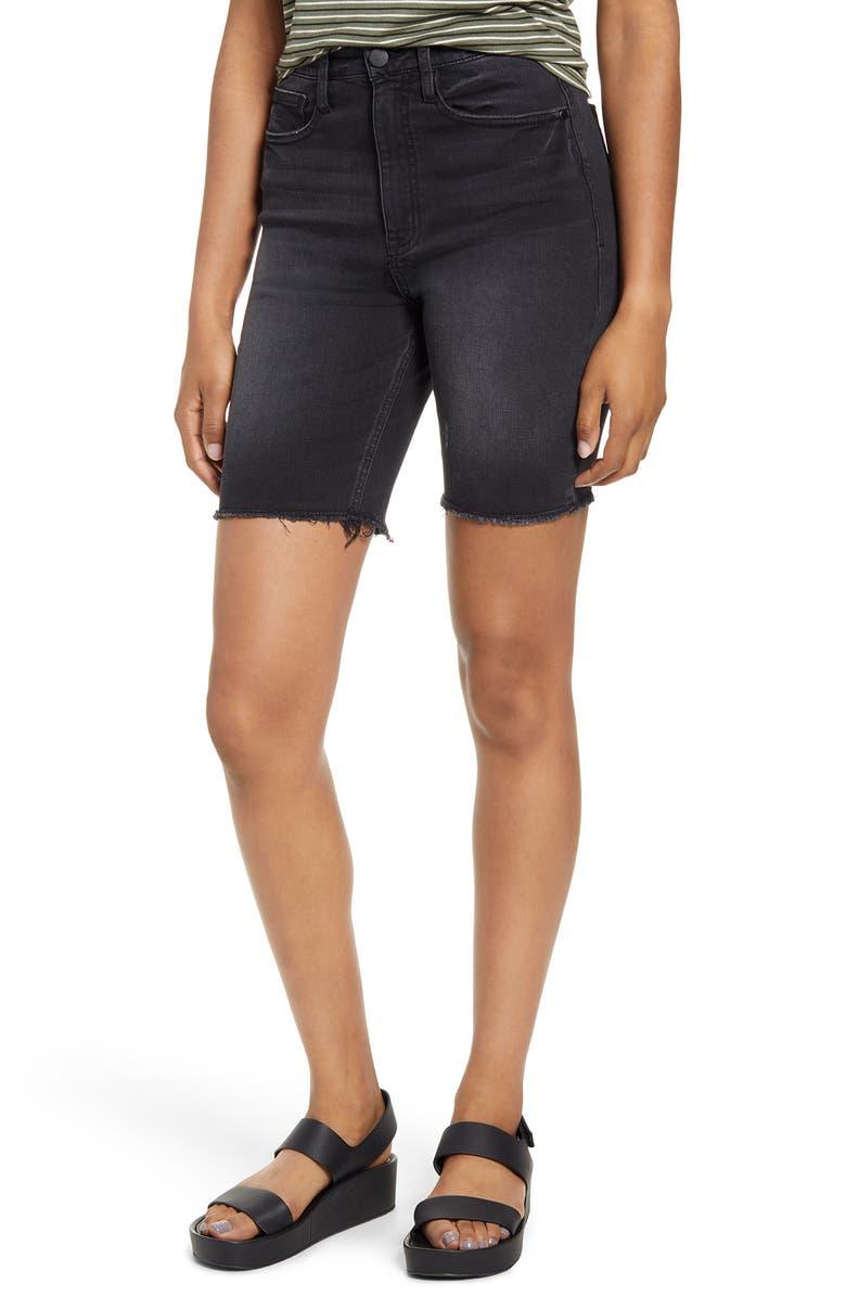 TINSEL High Waist Denim Bike Shorts, Main, color, WASHED BLACK