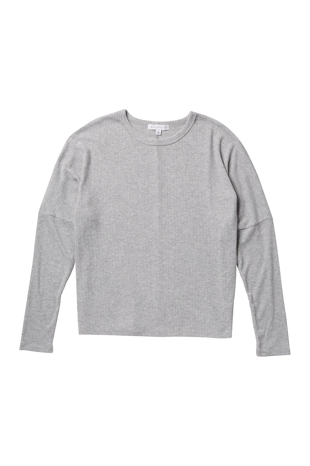 Image of Socialite Crew Neck Dolman Sleeve Ribbed Sweater