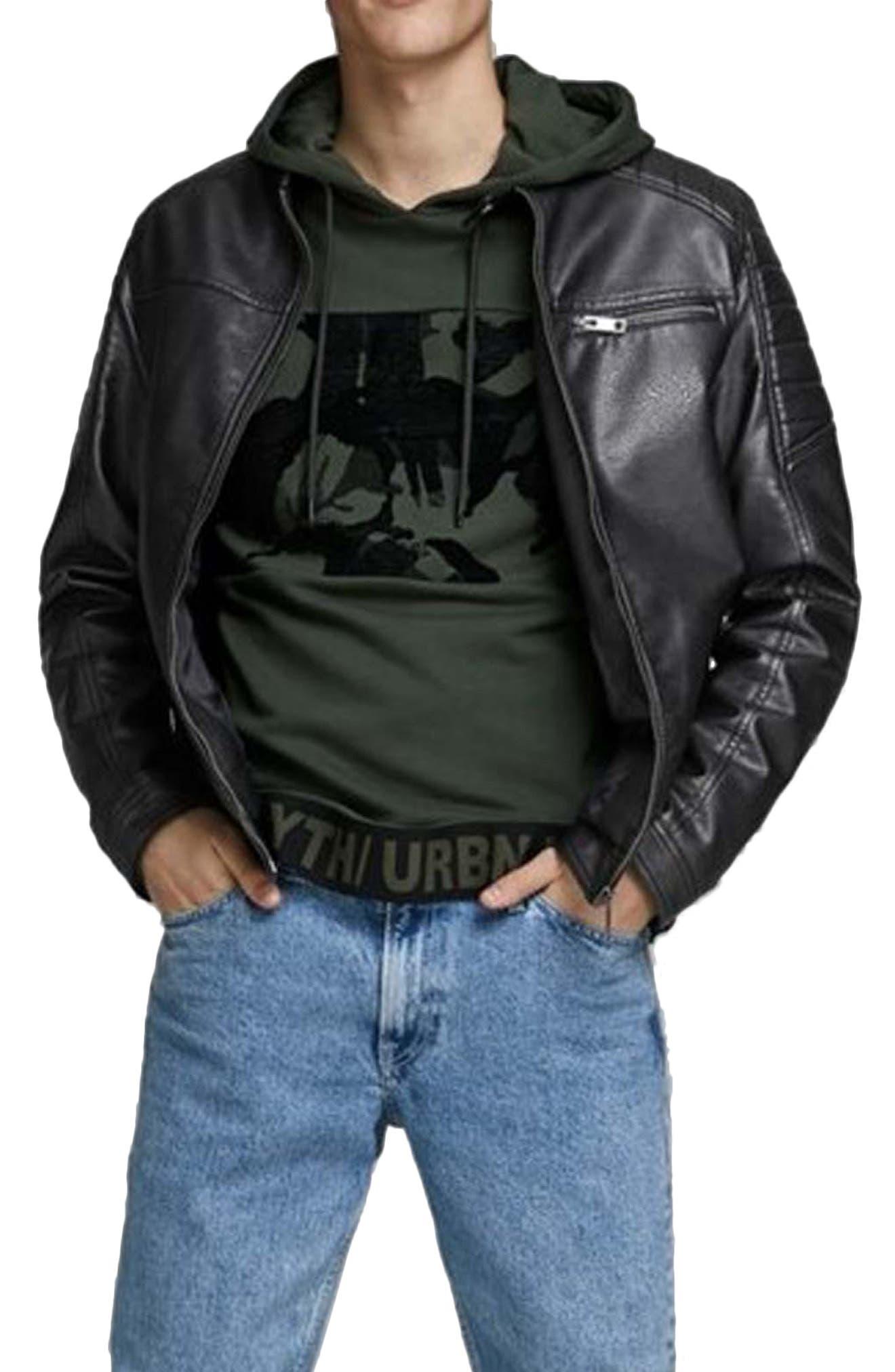 Image of JACK & JONES Rocky Faux Leather Biker Jacket
