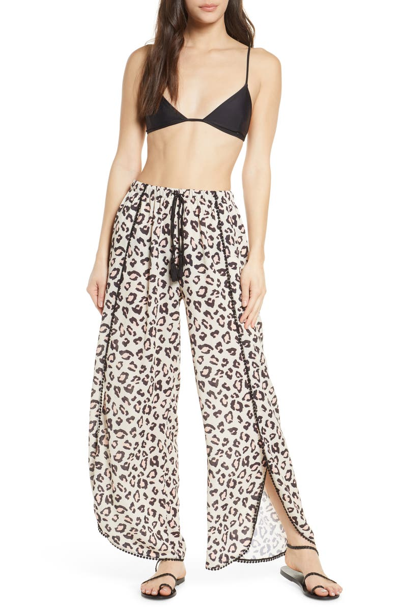 CHELSEA28 Ana Print Cover-Up Pants, Main, color, BEIGE BEACH LEOPARD