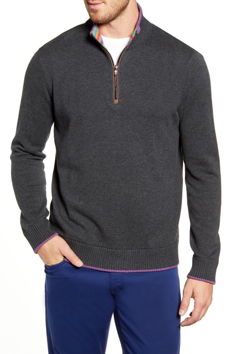 ROBERT GRAHAM Regular Fit Quarter Zip Pullover, Main, color, DARK CHARCOAL