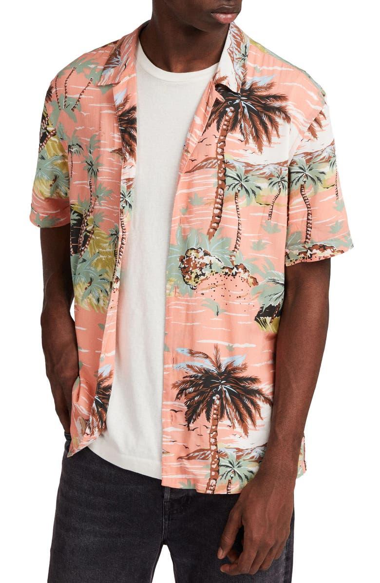 ALLSAINTS Luau Slim Fit Camp Shirt, Main, color, PINK