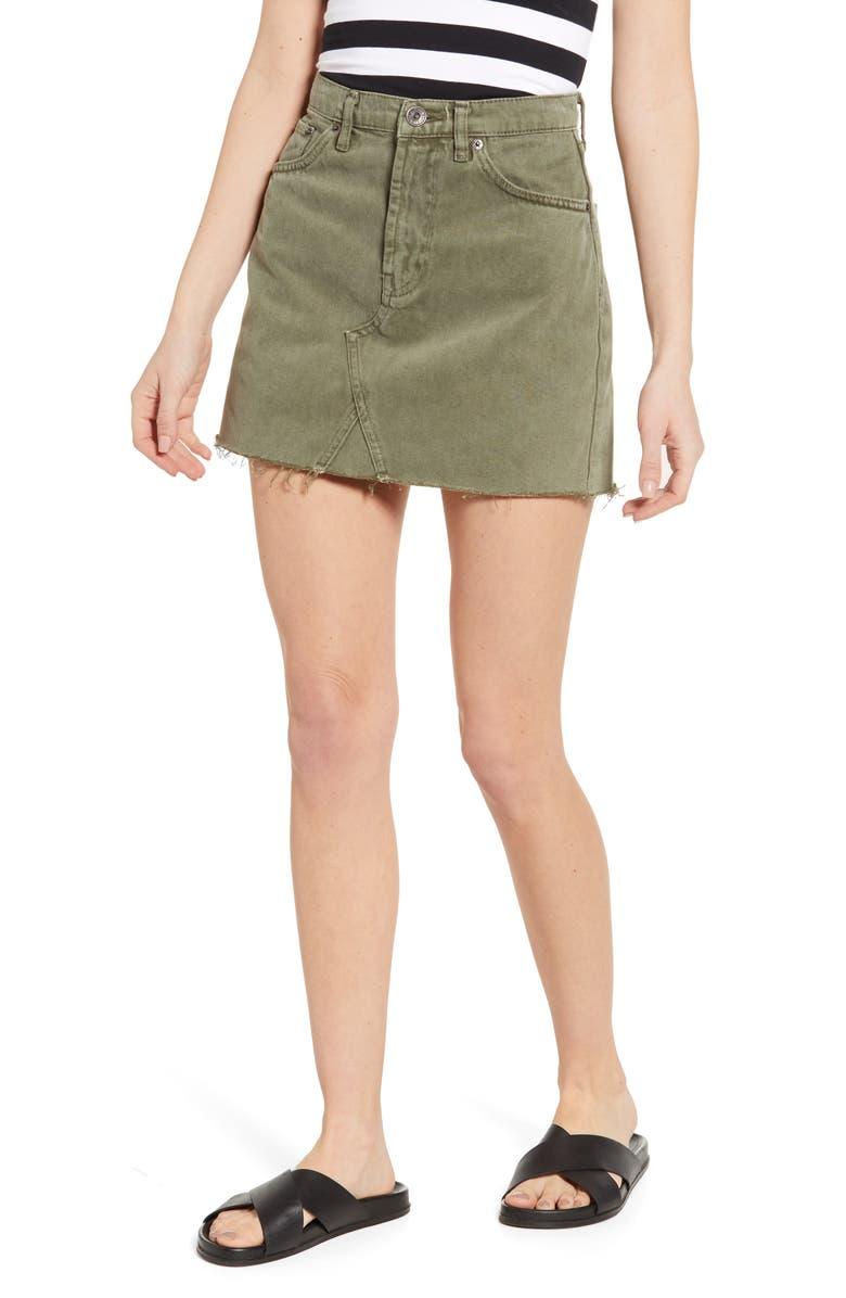 BDG Urban Outfitters Austin Cutoff Denim Miniskirt, Main, color, KHAKI