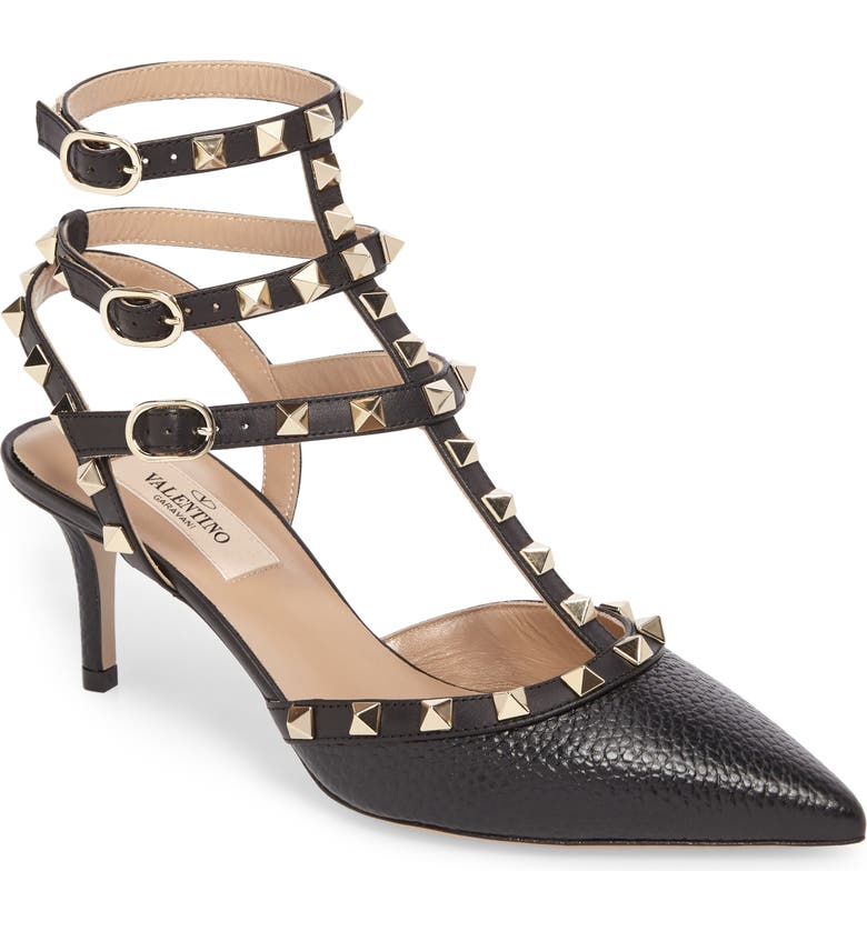 VALENTINO GARAVANI Rockstud T-Strap Pump, Main, color, BLACK