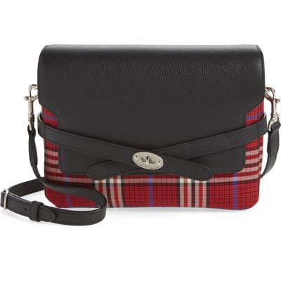 Mulberry Bayswater Leather & Plaid Crossbody Bag - Red