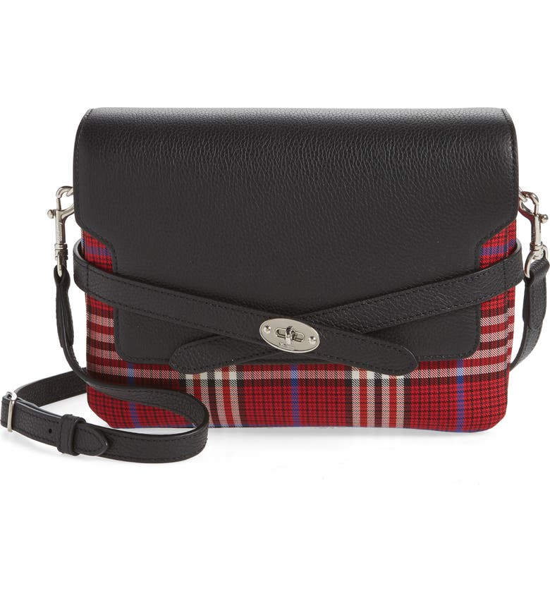 MULBERRY Bayswater Leather & Plaid Crossbody Bag, Main, color, 600