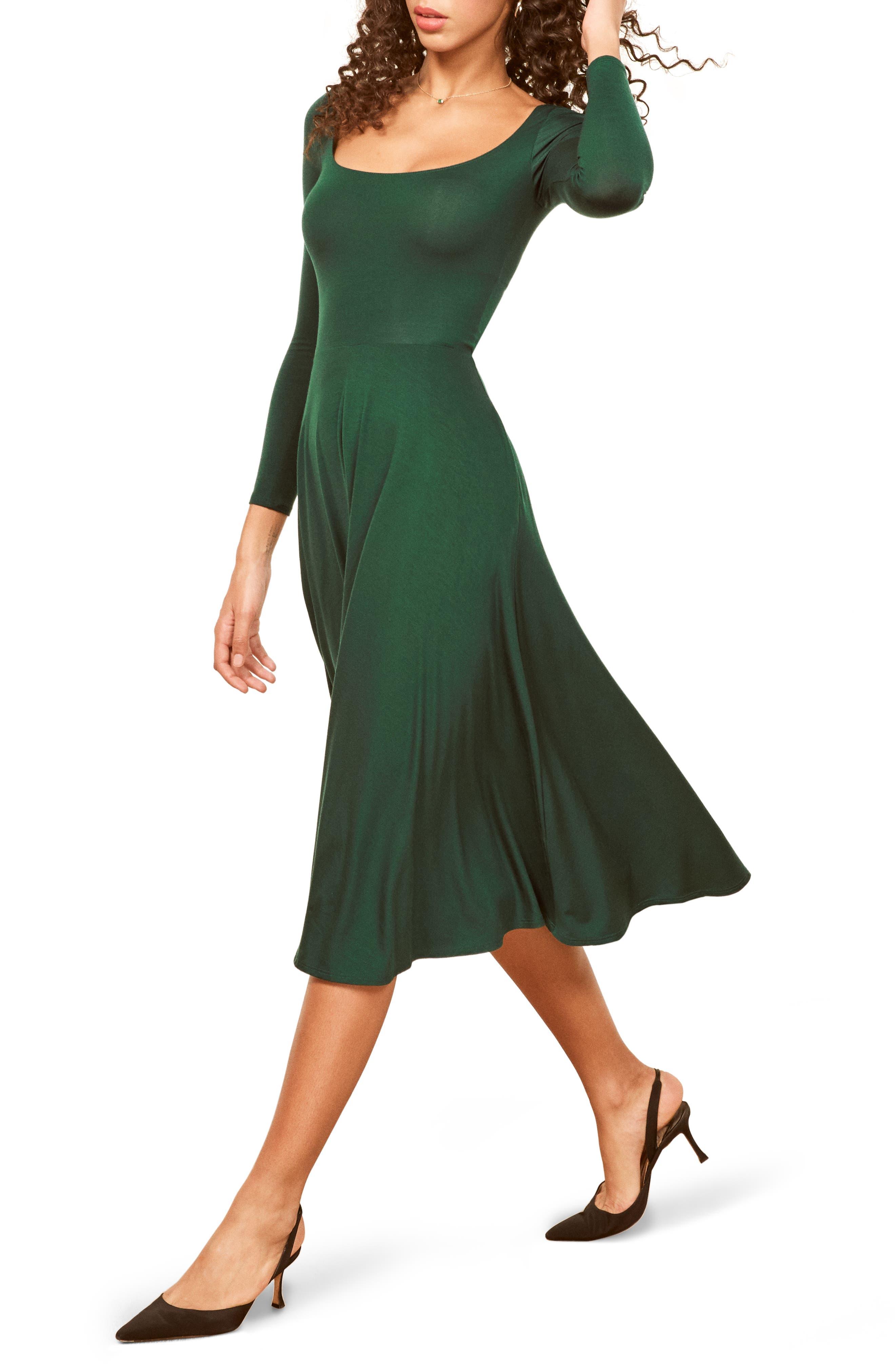 Reformation Lou Midi Dress, Green