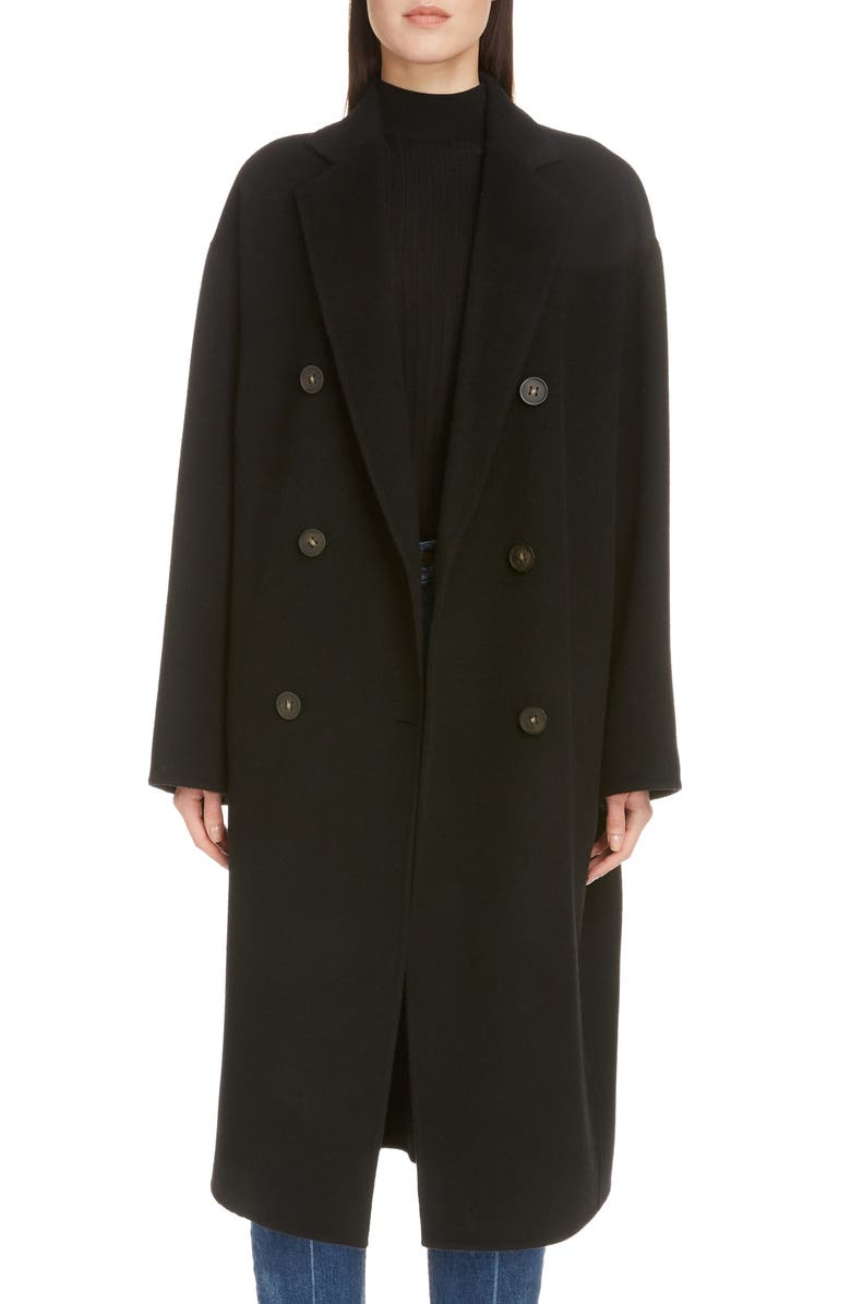 ACNE STUDIOS Odethe Double Breasted Wool & Cashmere Coat, Main, color, 001