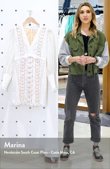 Super Eight Flutter Long Sleeve Linen Minidress, sales video thumbnail