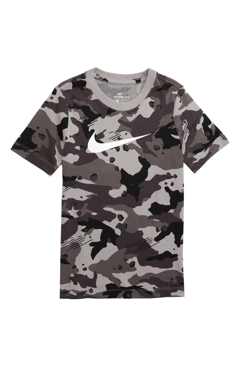 NIKE Sportswear Camo T-Shirt, Main, color, ATMOSPHERE GREY/ WHITE