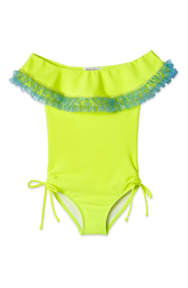 STELLA COVE Ruffle Neck One-Piece Swimsuit, Main, color, MULTIOLOR