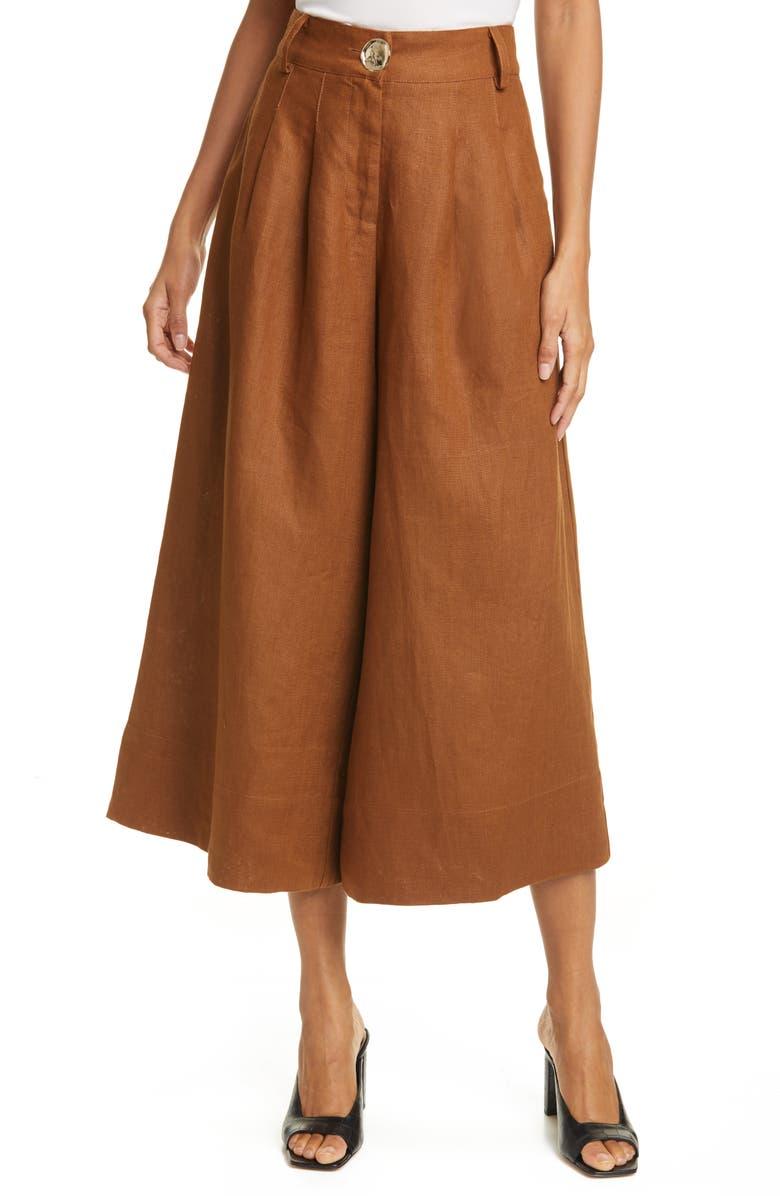 NICHOLAS Varca Linen Crop Wide Leg Pants, Main, color, 200