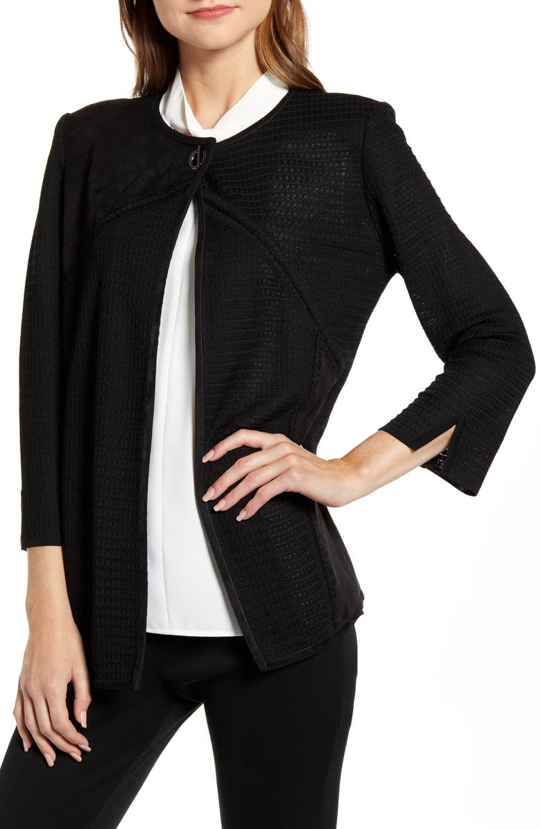 Ming Wang Toggle Front Jacquard Jacket