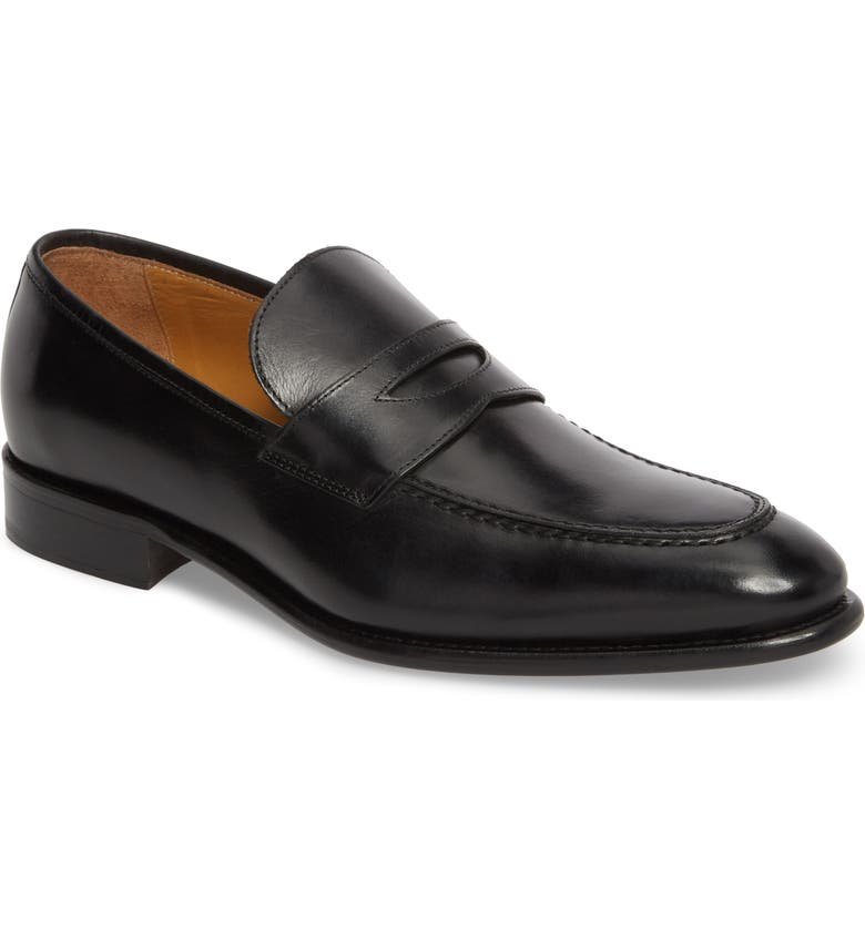 FLORSHEIM Imperial Venucci Apron Toe Penny Loafer, Main, color, BLACK LEATHER