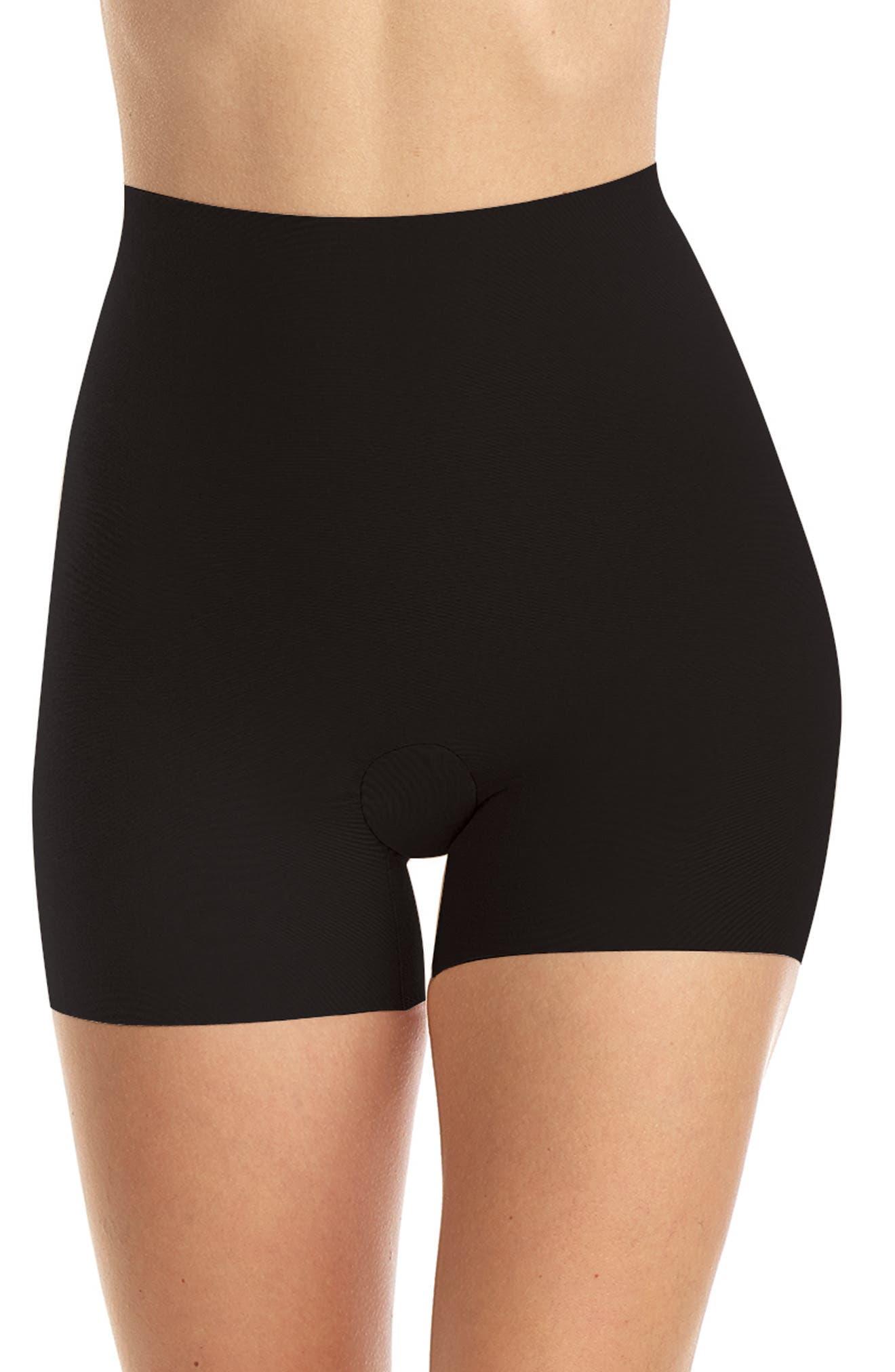 Cotton Control Shortie Shaping Shorts, Main, color, BLACK