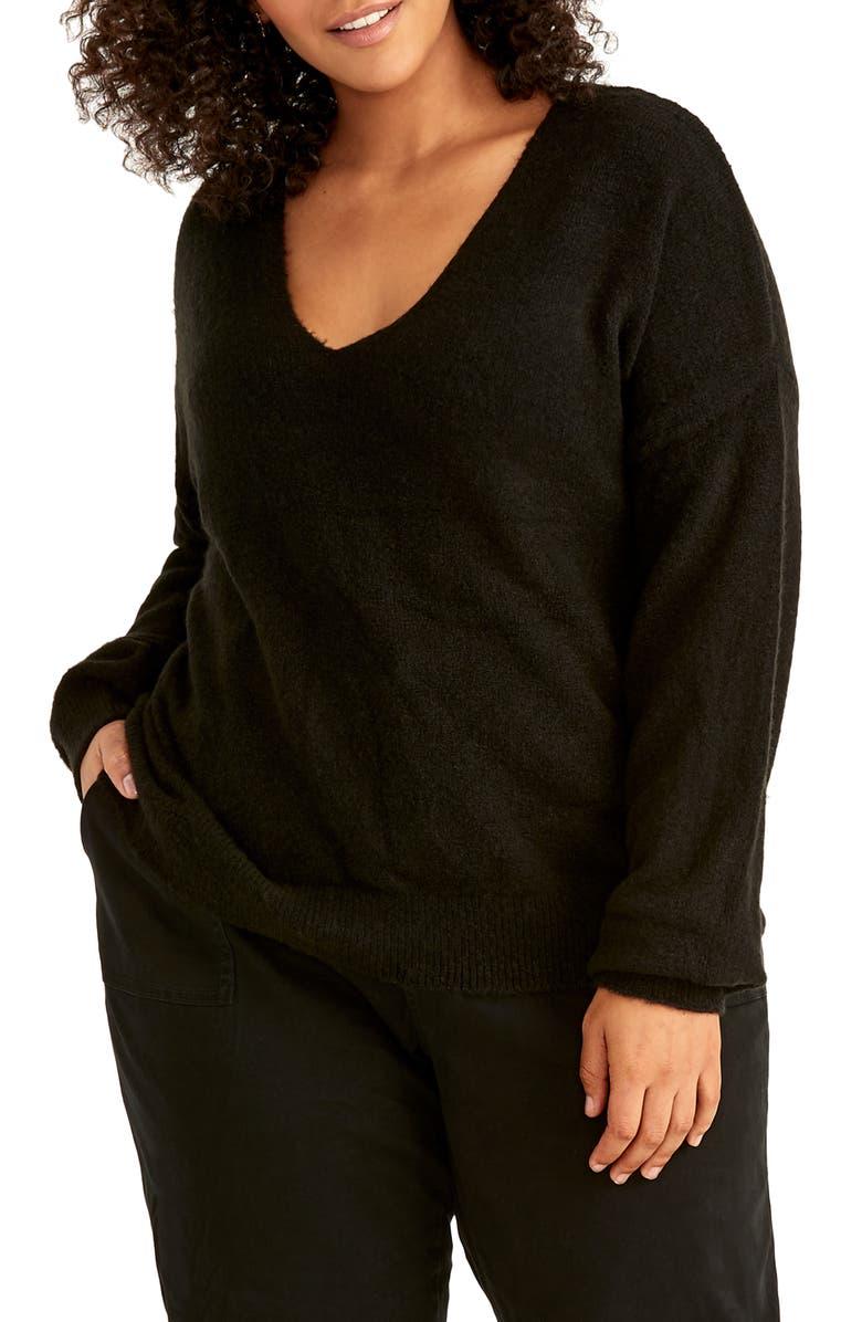 RACHEL RACHEL ROY Fuzzy Cotton Blend Sweater, Main, color, BLACK