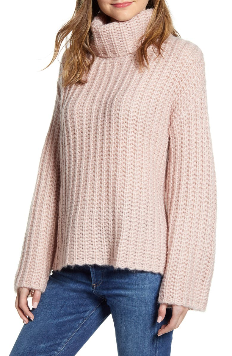 RD STYLE Cowl Neck Sweater, Main, color, PINK CLOUD
