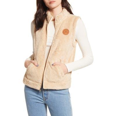 Roxy Faux Shearling Vest, Beige