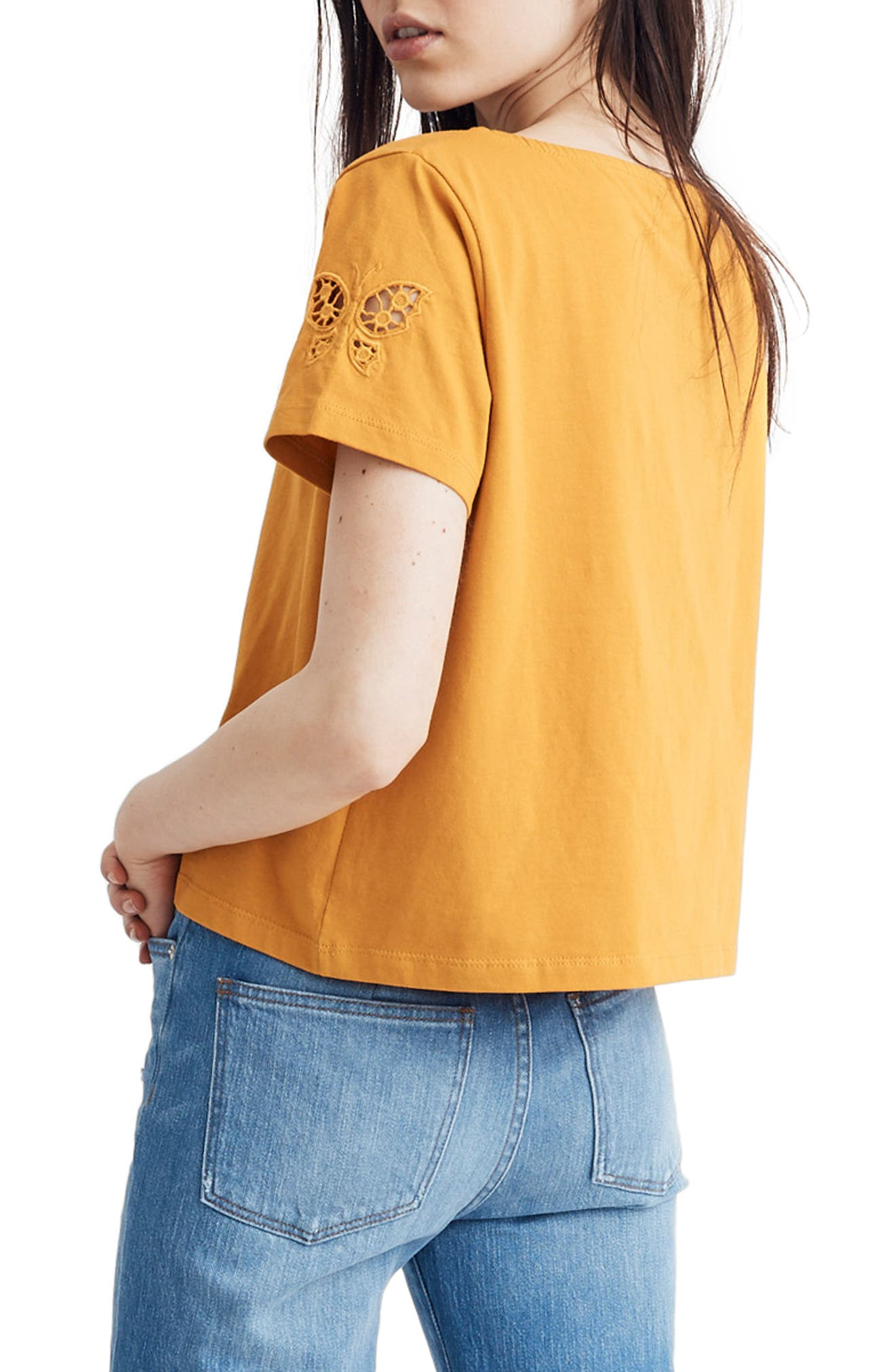 ,                             Butterfly Embroidered Eyelet Setlist Boxy Tee,                             Alternate thumbnail 4, color,                             700