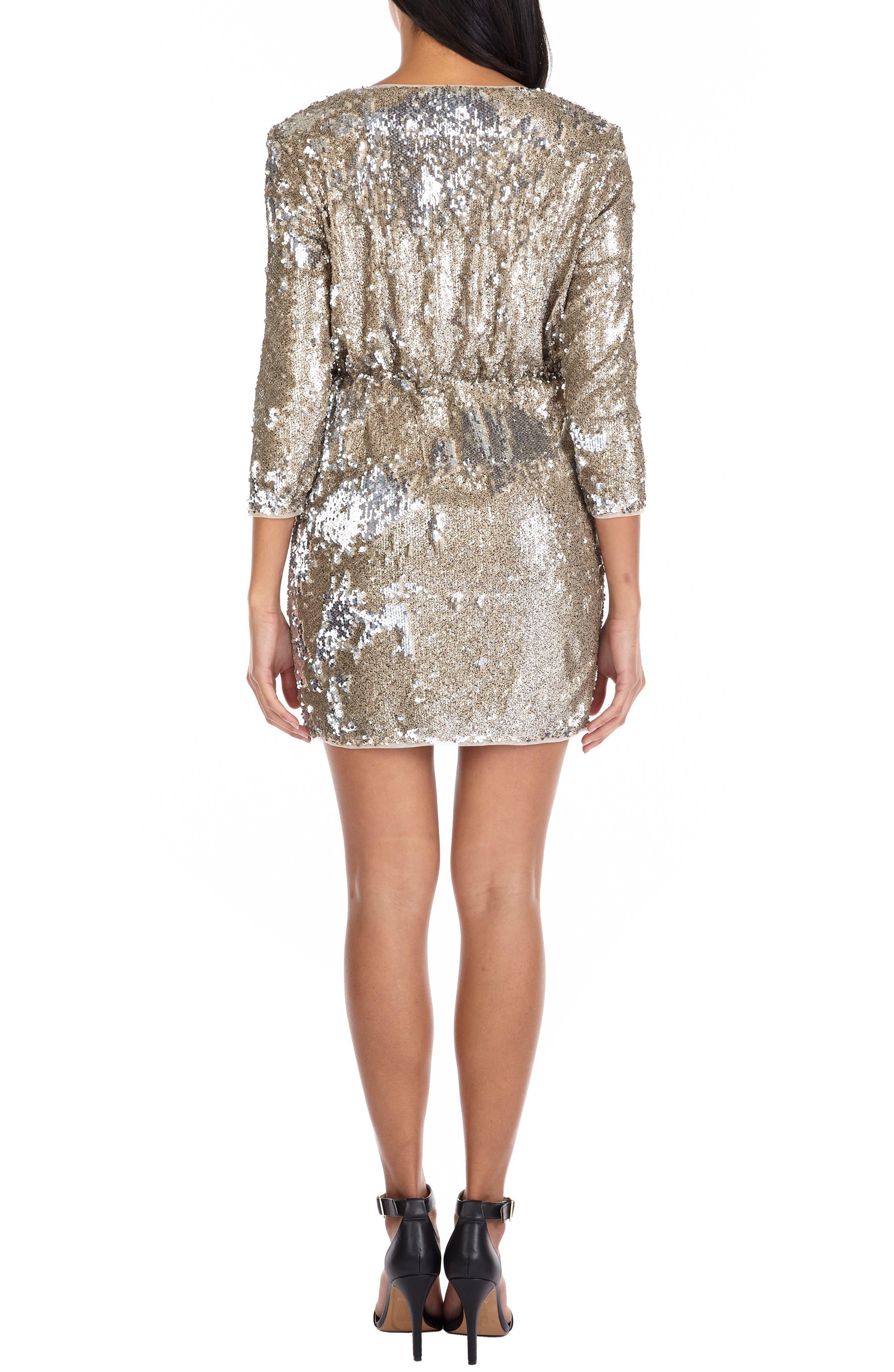 ,                             Venezia Sequin Surplice Dress,                             Alternate thumbnail 2, color,                             GOLD/ SILVER