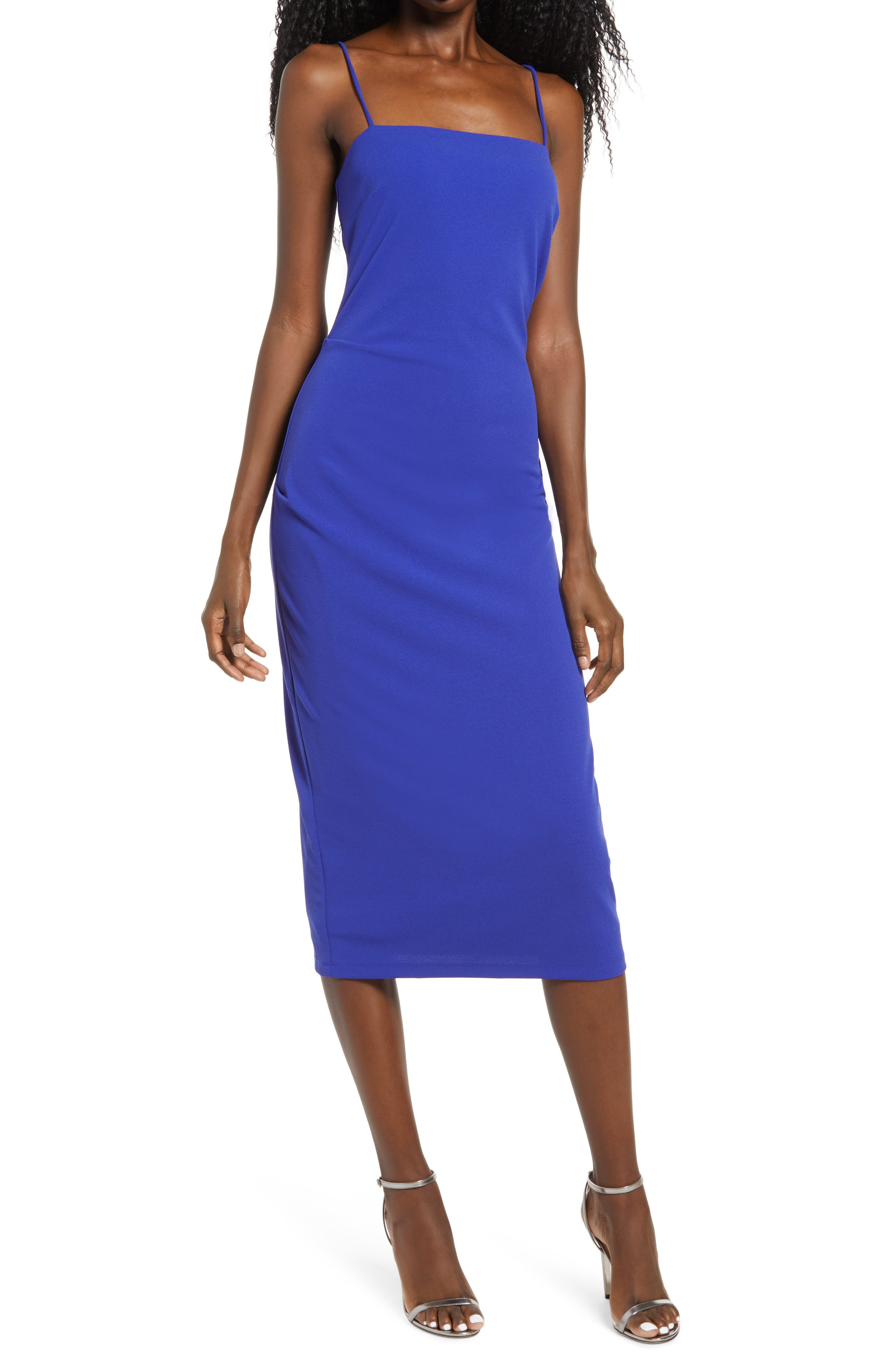 Image of WAYF The Bea Ruched Cami Midi Dress