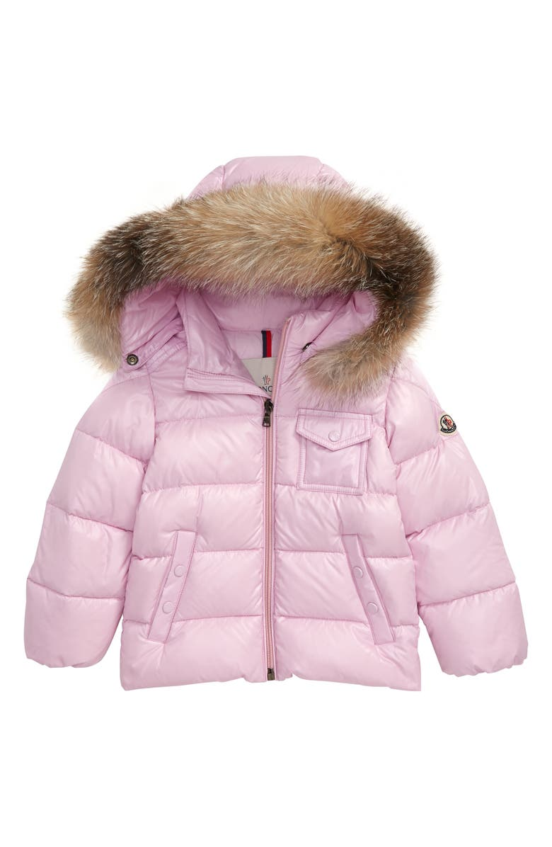 MONCLER K2 Water Resistant Hooded Down Jacket with Genuine Fox Fur Trim, Main, color, PINK