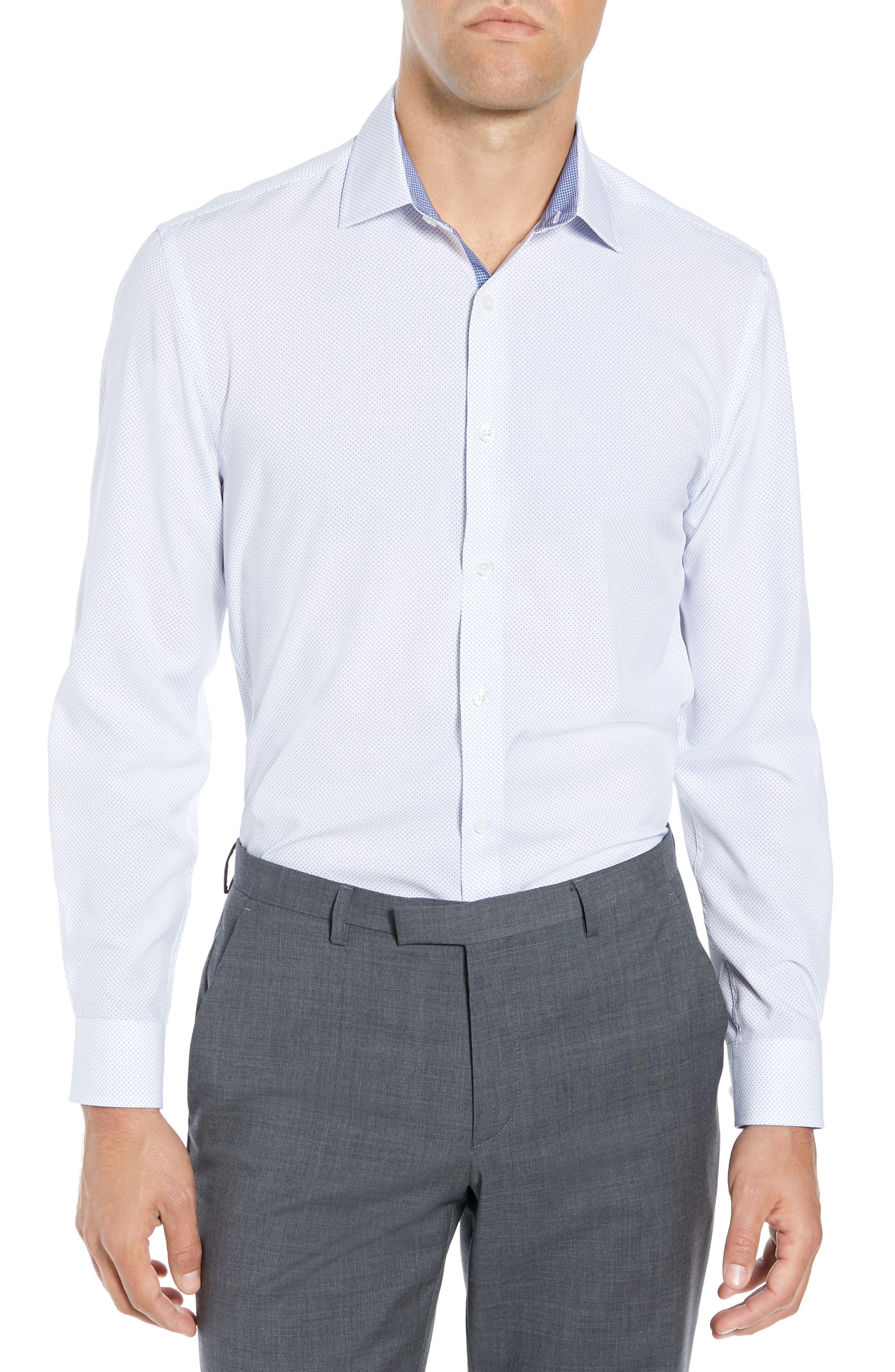 ,                             Slim Fit Performance Stretch Dot Dress Shirt,                             Main thumbnail 1, color,                             LIGHT BLUE