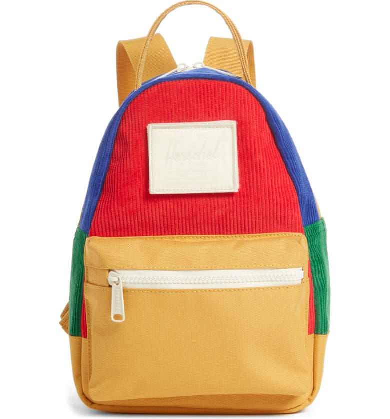 HERSCHEL SUPPLY CO. Mini Nova Corduroy & Canvas Backpack, Main, color, RED/ GREEN/ YELLOW/ GOLD