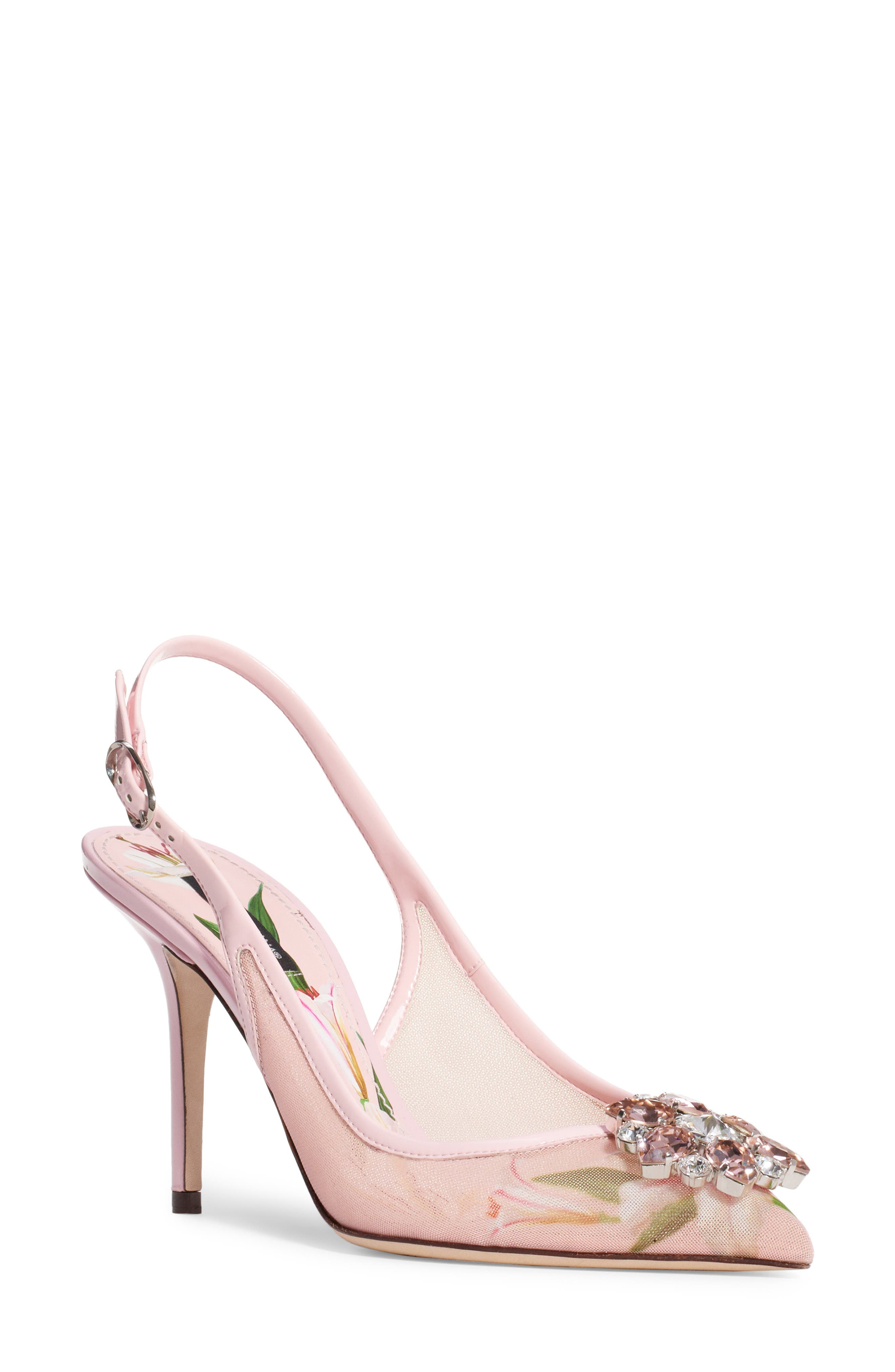 Dolce & gabbana Floral Crystal Slingback Pump, Pink