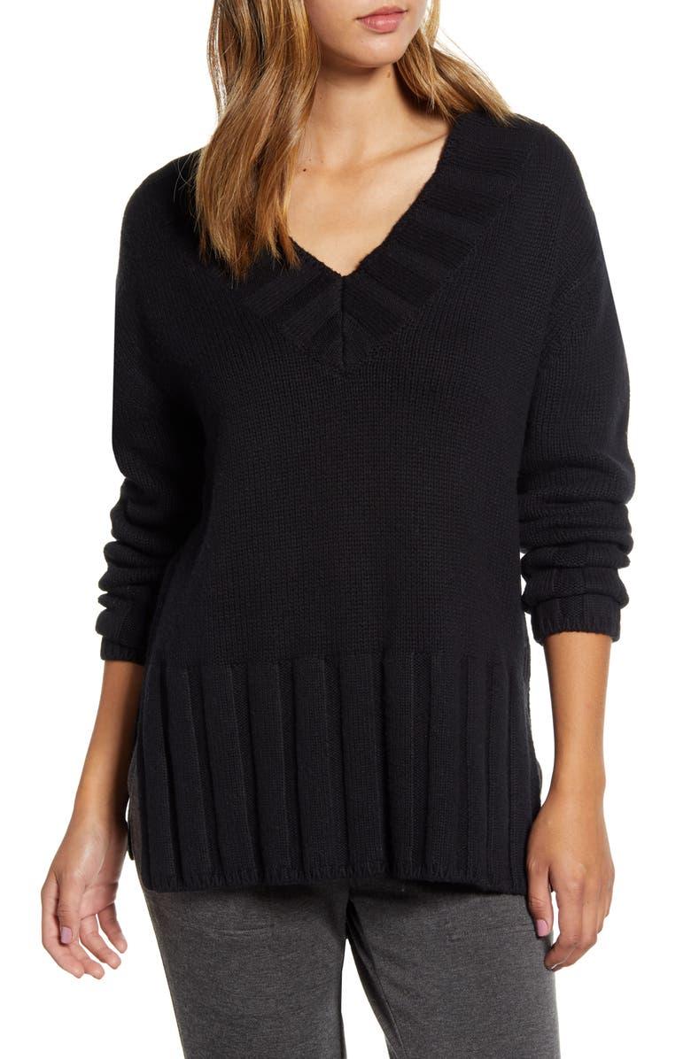 LOU & GREY Rib Trim Tunic Sweater, Main, color, BLACK