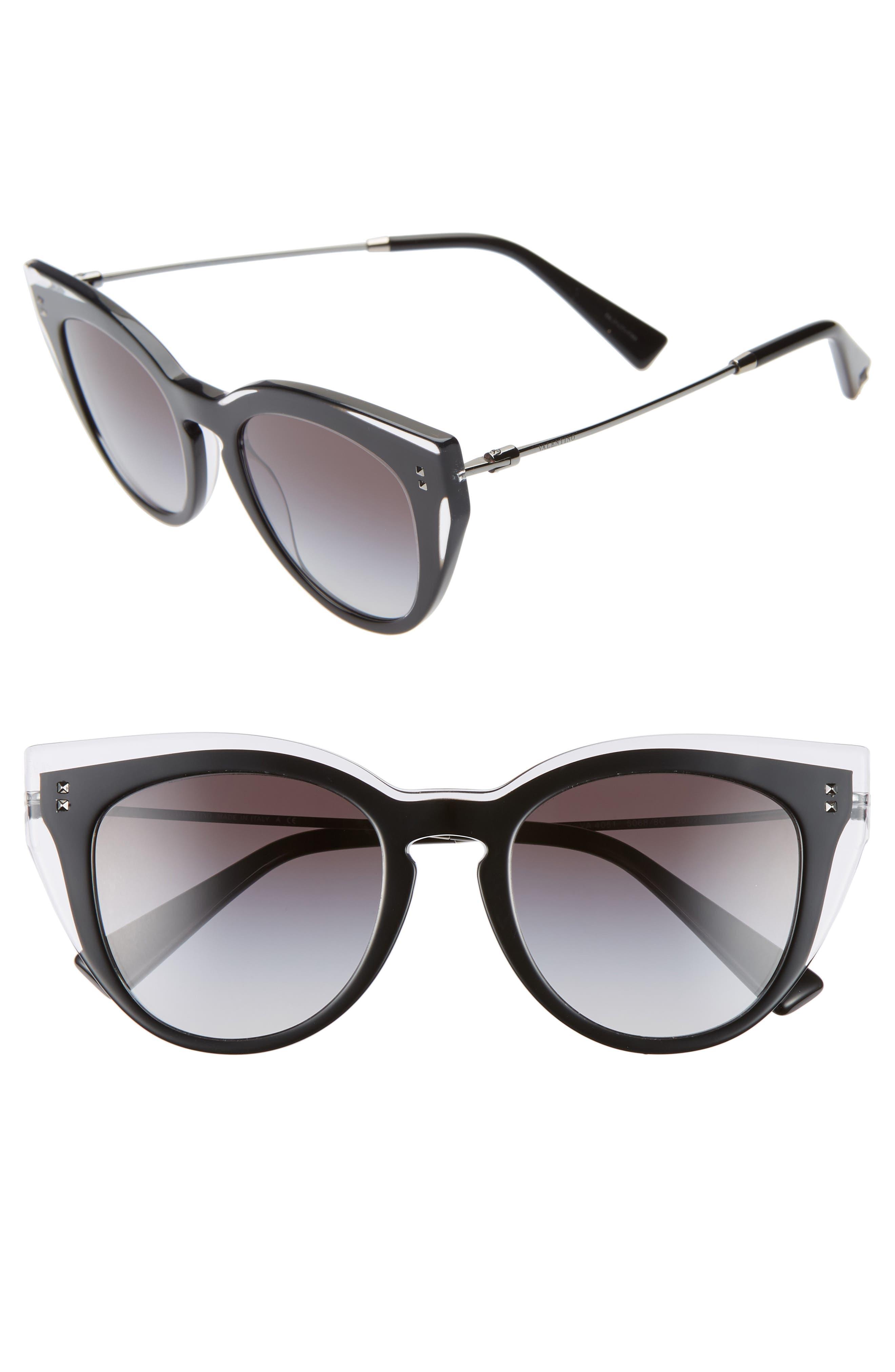 Valentino 50Mm Cat Eye Sunglasses - Black Crystal