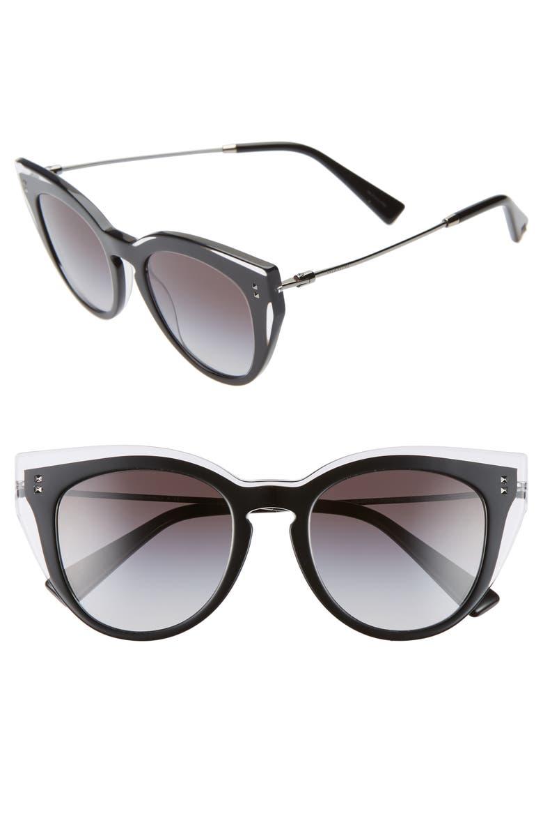 VALENTINO 50mm Cat Eye Sunglasses, Main, color, BLACK CRYSTAL