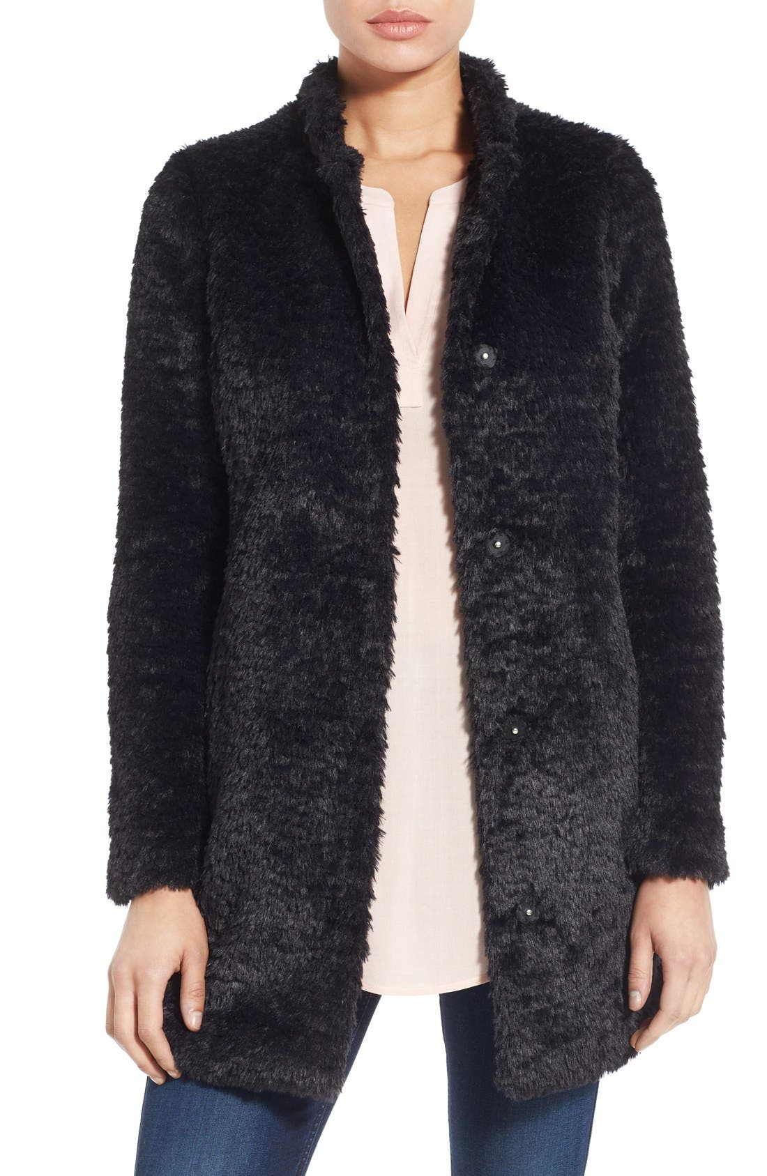 ,                             Faux Fur Jacket,                             Main thumbnail 25, color,                             001