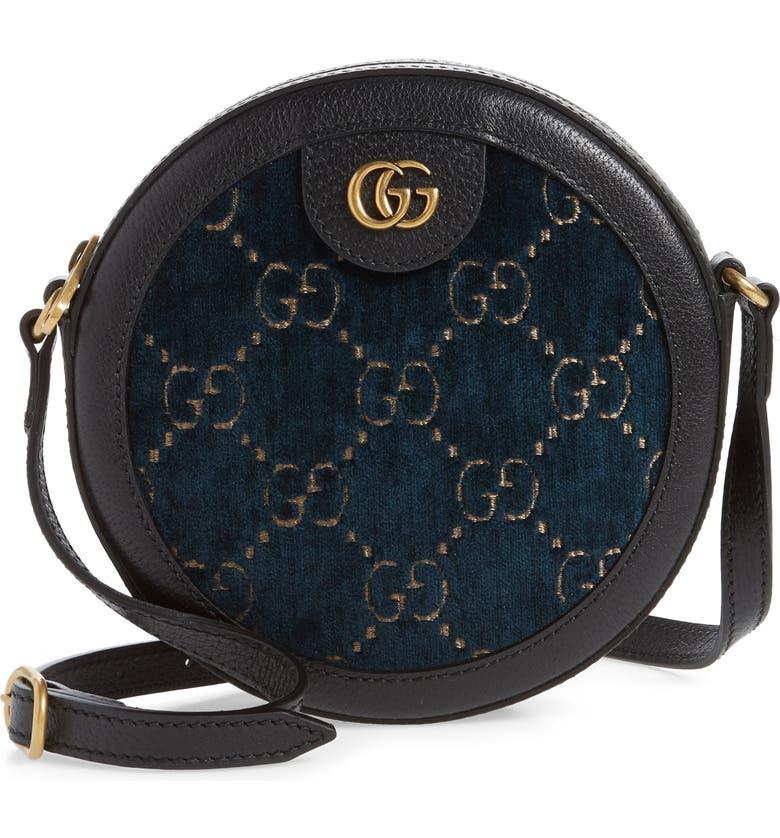GUCCI GG Velvet & Leather Round Shoulder Bag, Main, color, 400