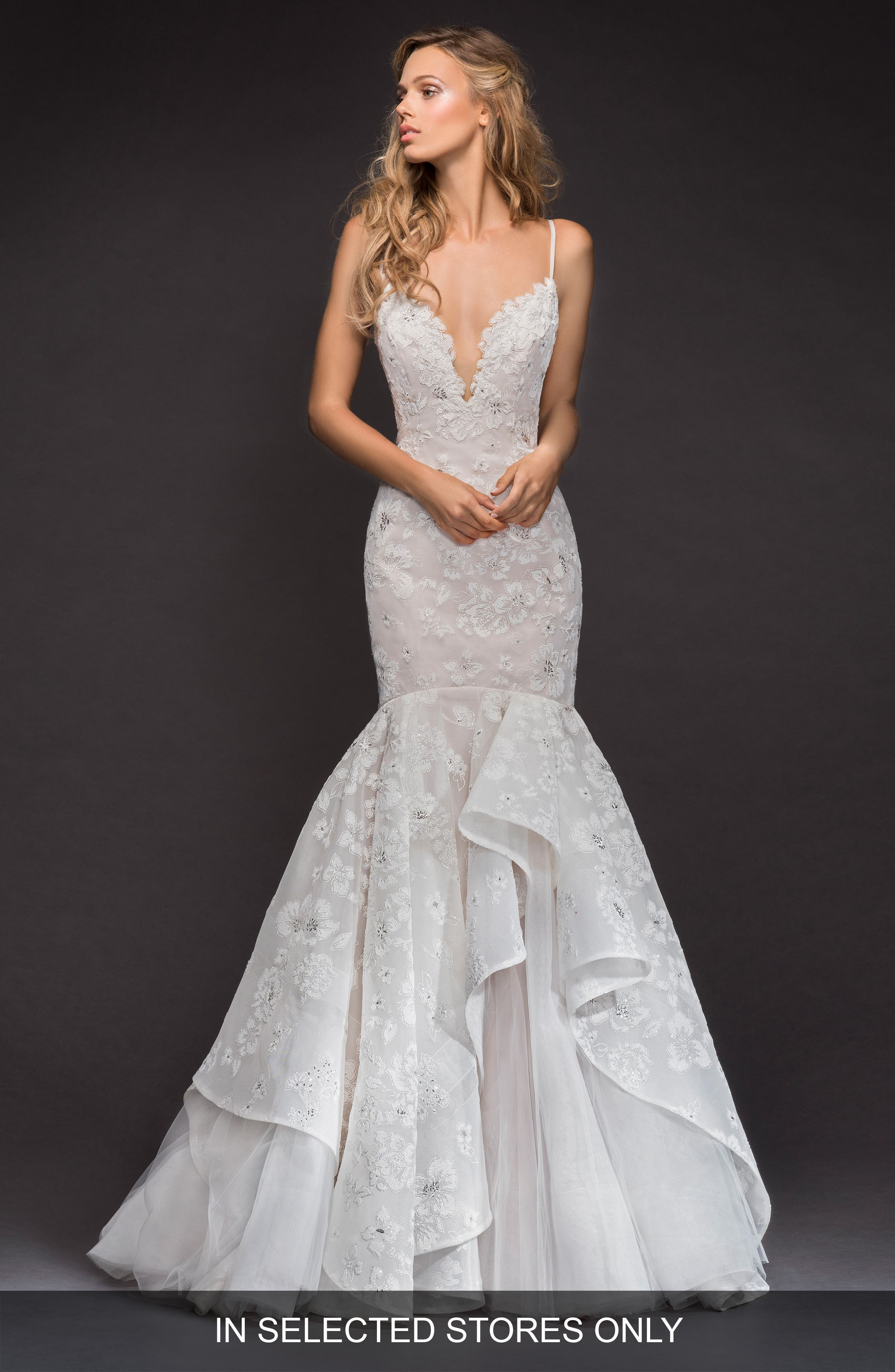 Hayley Paige Ronnie Embellished Mermaid Gown, Size - Ivory