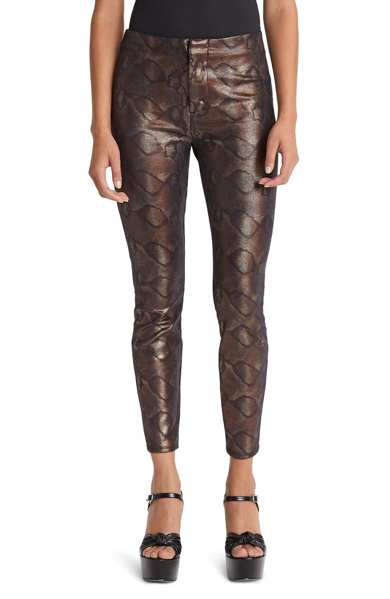 MOTHER The Looker Snake Texture High Waist Skinny Pants, Main, color, SLITHER