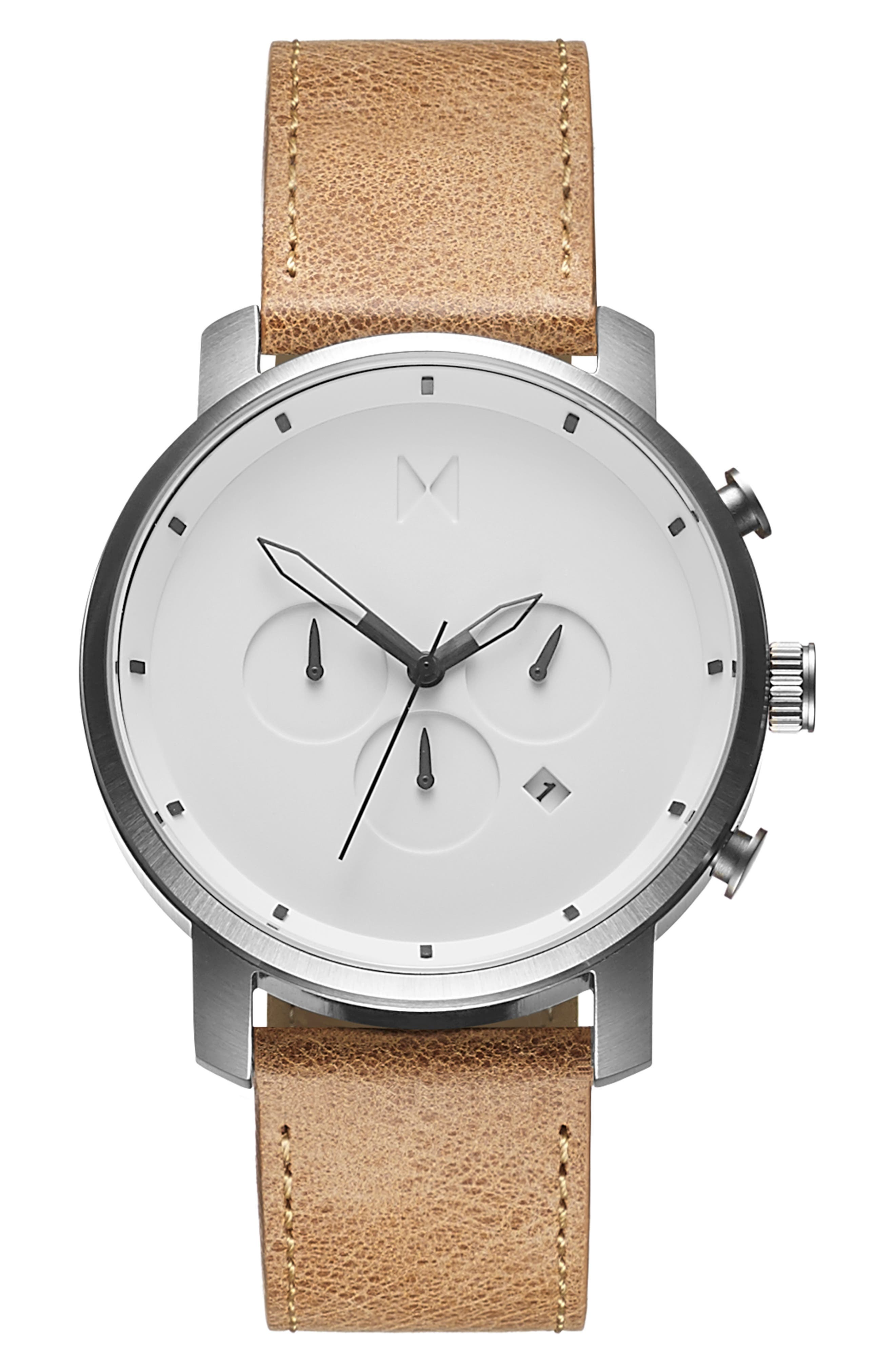 Chronograph Leather Strap Watch
